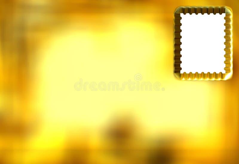 3d金黄明信片 库存例证