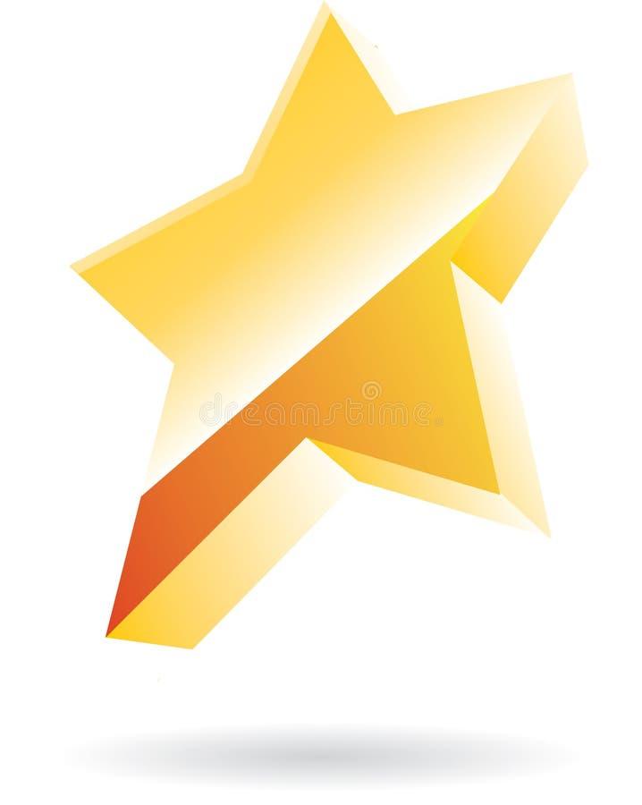3d金黄星形向量 皇族释放例证