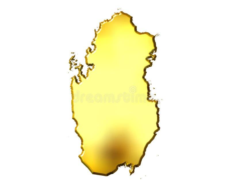 3d金黄映射卡塔尔 向量例证