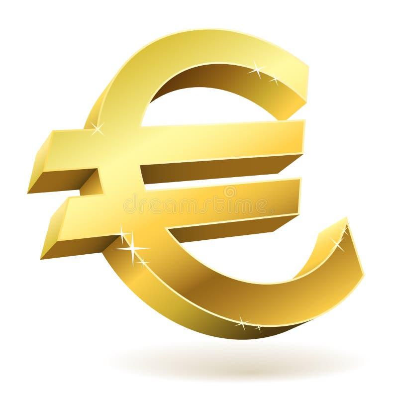 3D金黄欧洲符号 库存例证