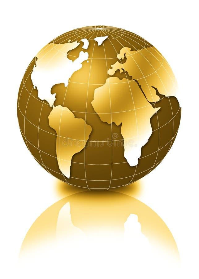 3d金黄的地球 皇族释放例证