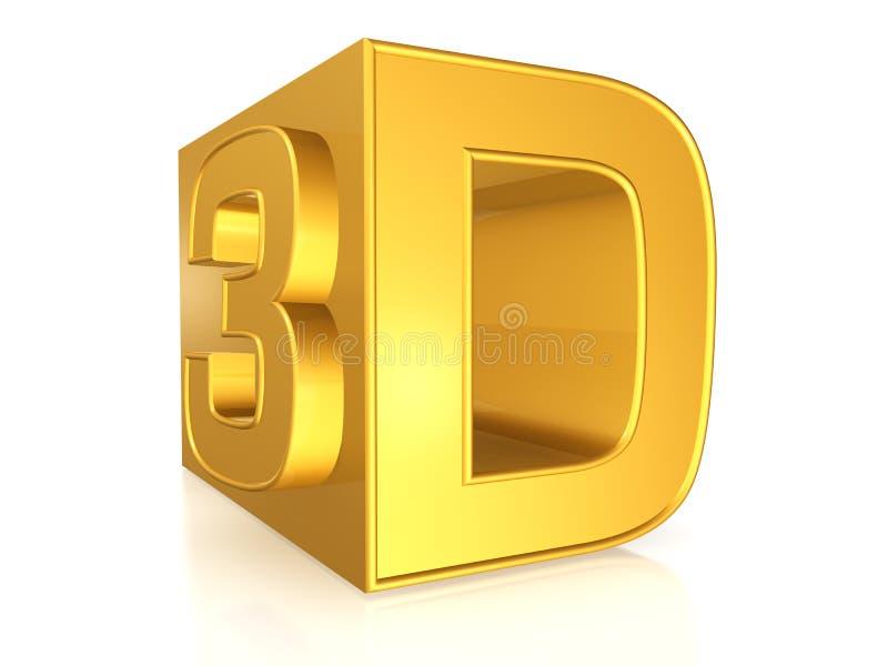 3d金黄符号 向量例证