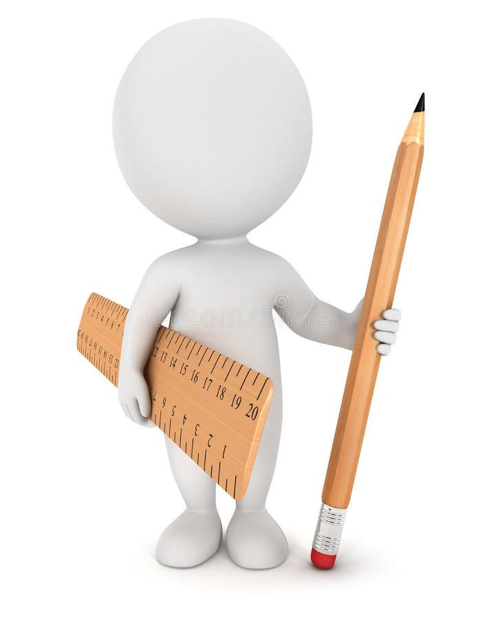 3d铅笔人统治者白色 向量例证
