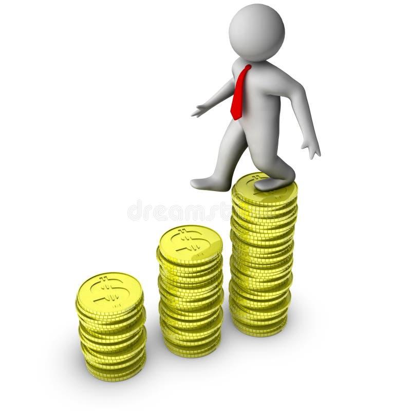 3d铸造美元增长人走 库存例证