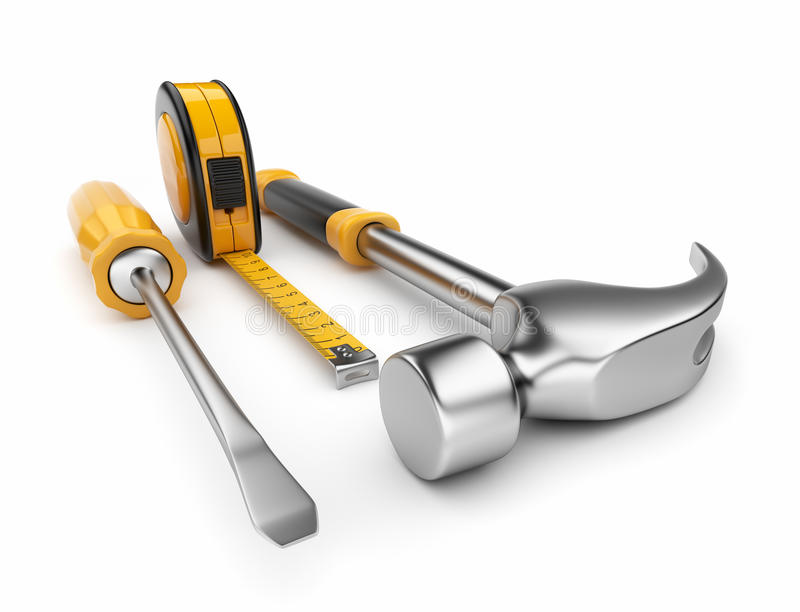 3d锤子评定螺丝刀磁带 库存例证
