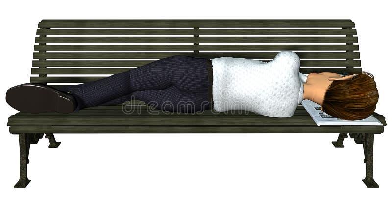 3d长凳生意人休眠 向量例证