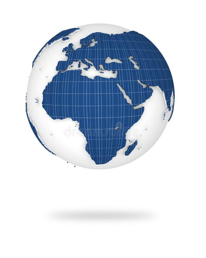 3d非洲地球欧洲登陆视图 皇族释放例证