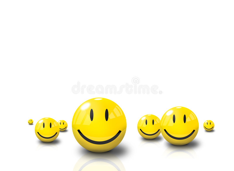 3d面对愉快的smiliey 免版税库存照片