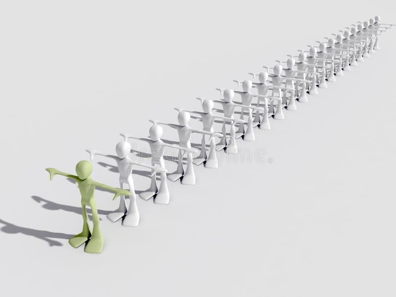 3d领导先锋人人行 向量例证