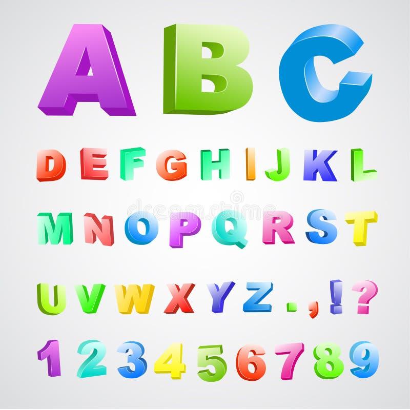 3d颜色字体 皇族释放例证
