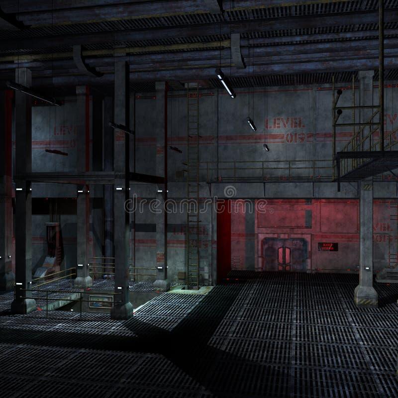 3d黑暗的安排可怕科学幻想小说设置 库存例证