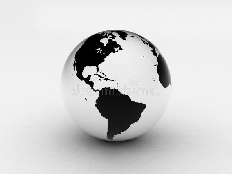 3d黑色地球地球白色 库存例证