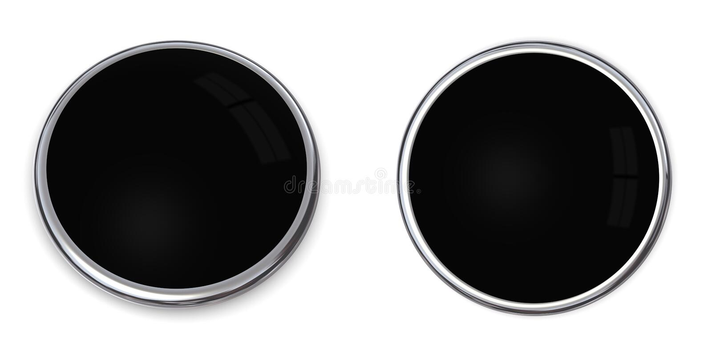 3d黑色按钮固体 库存例证