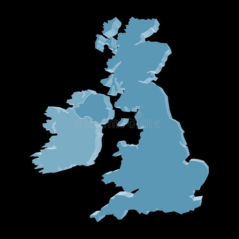 3d黑色爱尔兰映射英国 库存例证