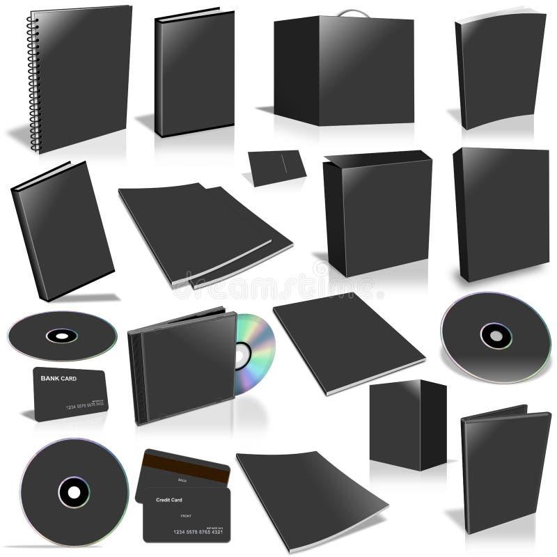 3d黑色空白收集盖子 向量例证