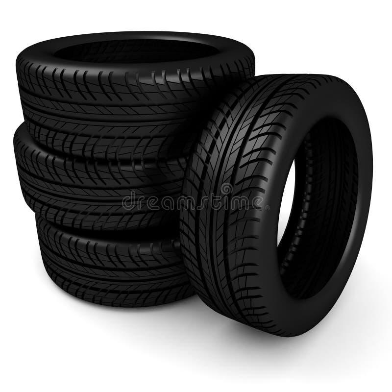 3d黑色轮胎 向量例证