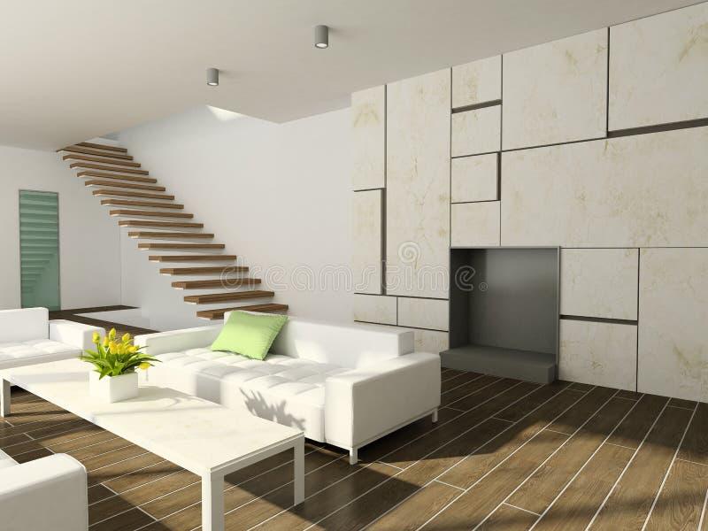 3D übertragen modernen Innenraum des Wohnzimmers vektor abbildung