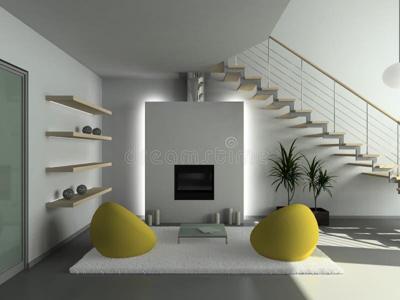 3D übertragen modernen Innenraum des Wohnzimmers lizenzfreie abbildung