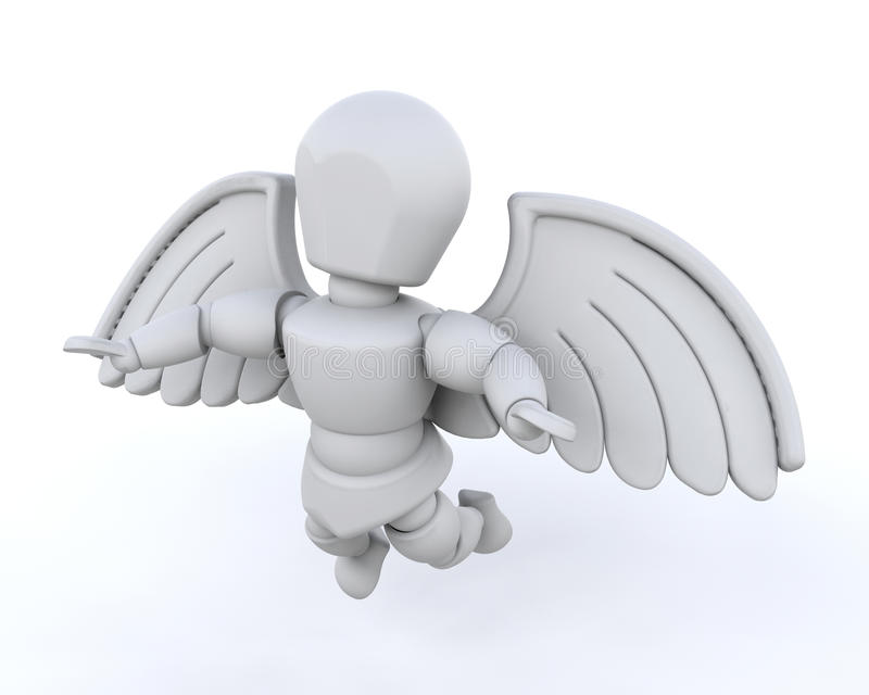 3d übertragen vom Mann mit Flügeln vektor abbildung