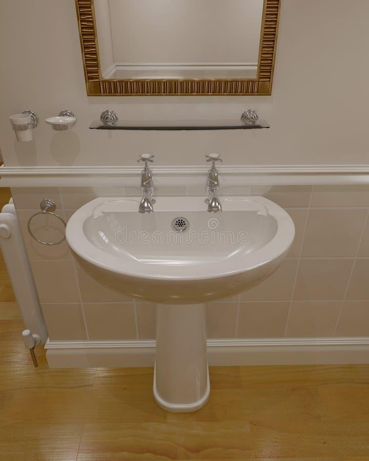 3d übertragen vom zeitgenössischen Badezimmer lizenzfreie abbildung