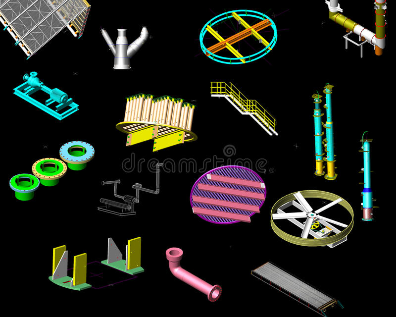 3D übertragen von den machineries lizenzfreie abbildung
