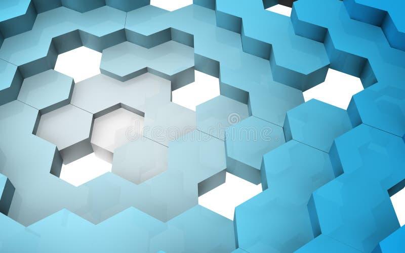 3D übertragen von der Hexagonstruktur lizenzfreie stockbilder