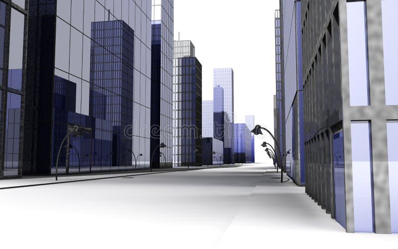 3D übertragen von der Straße in einer großen Stadt mit Straßenbeleuchtung stockfotografie