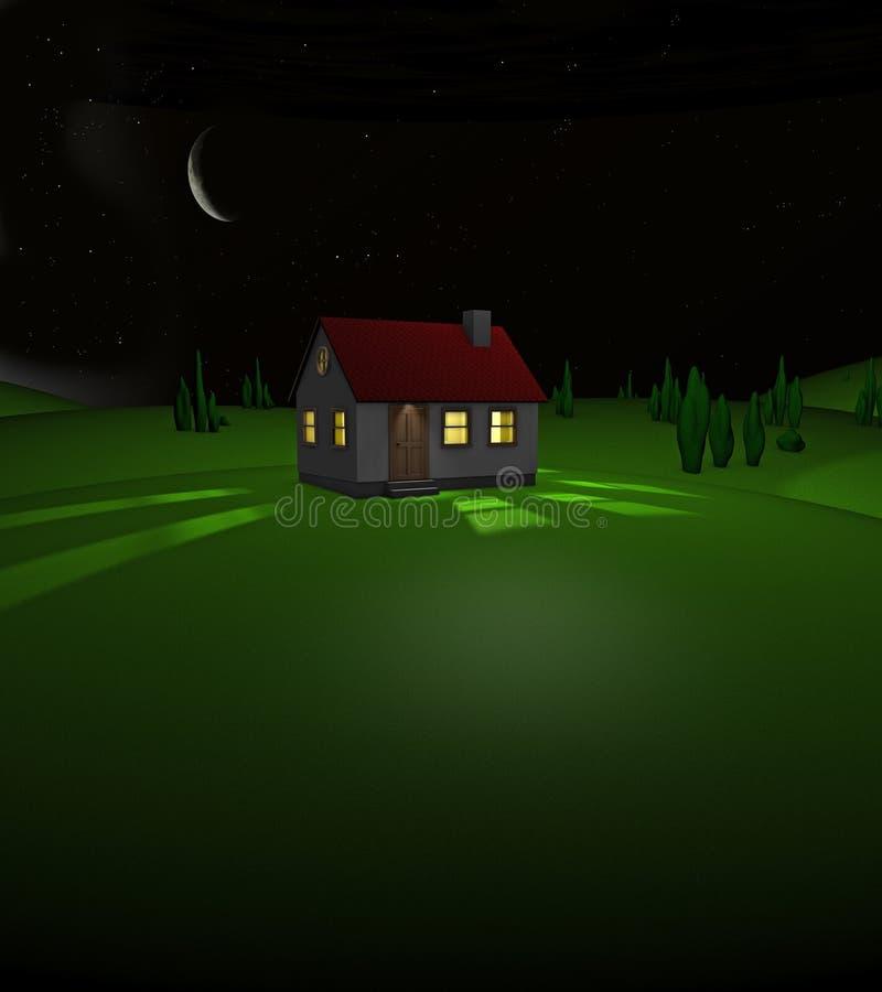 3D übertragen von einem Haus auf einem Hügel bis zum Nacht stock abbildung