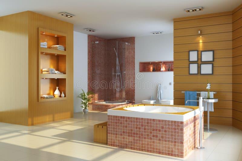 3d łazienki nowożytny wewnętrzny odpłaca się ilustracji