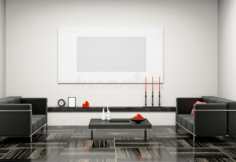 3d żywy pokój ilustracja wektor