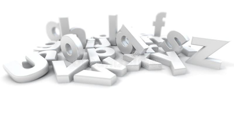 3d алфавит d помечает буквами белизну перевода иллюстрация вектора