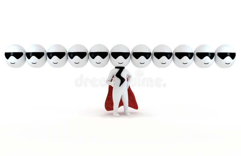 3d как супер людей героя малое иллюстрация вектора