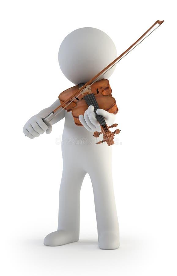3d малые люди - скрипка иллюстрация вектора