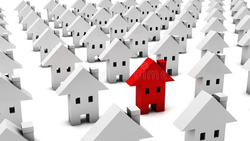 3d много Белых Домов одного красно иллюстрация вектора
