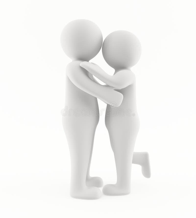 3d обнимая целующ людей бесплатная иллюстрация