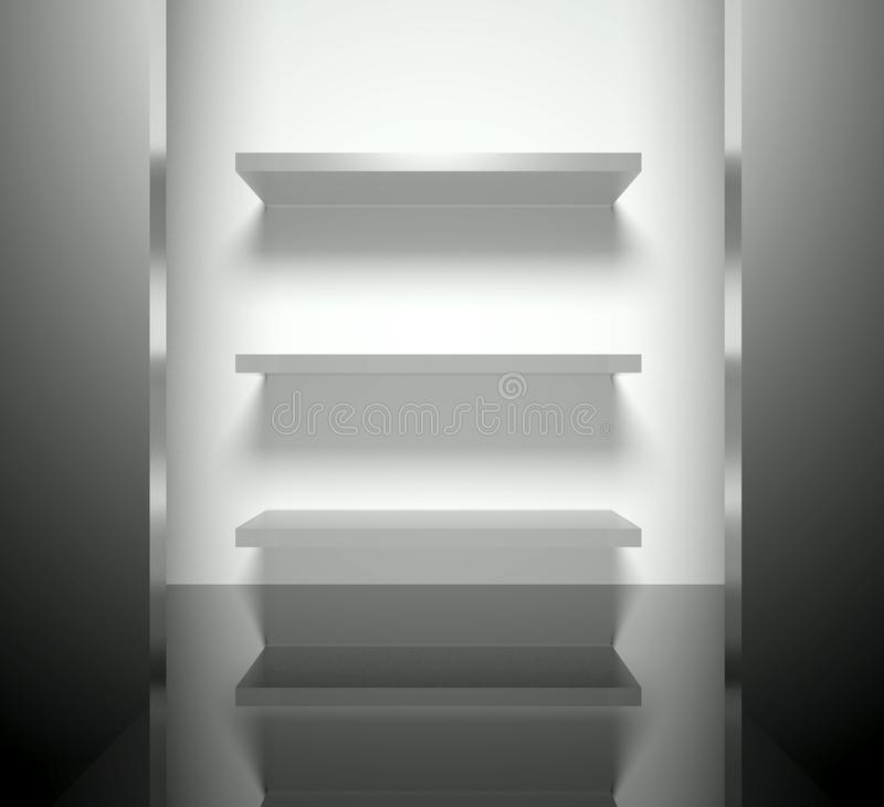 3d опорожняют нутряной самомоднейший этап полок иллюстрация штока