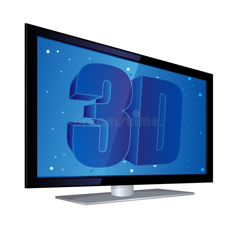 3d плоское экран tv иллюстрация вектора