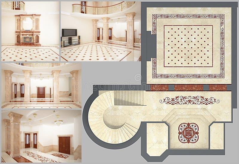 3D представляя красивейшую живущую комнату с полом мозаики бесплатная иллюстрация