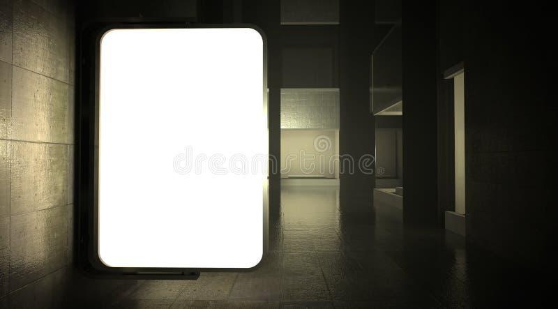 3d рекламируя стену улицы афиши пустую стоковая фотография