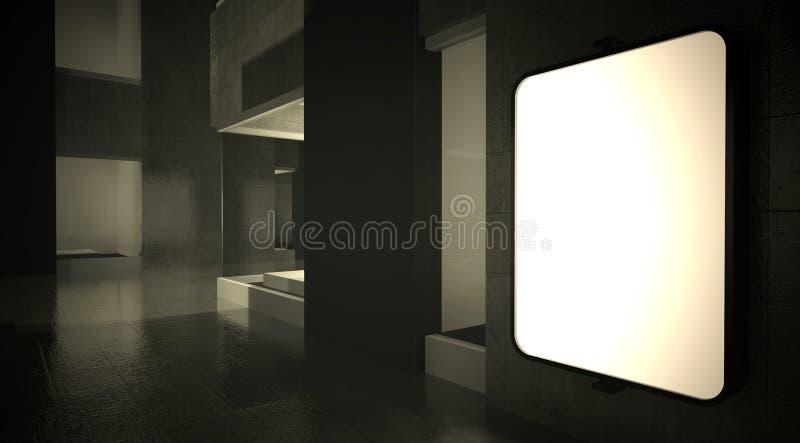 3d рекламируя стену улицы афиши пустую иллюстрация вектора