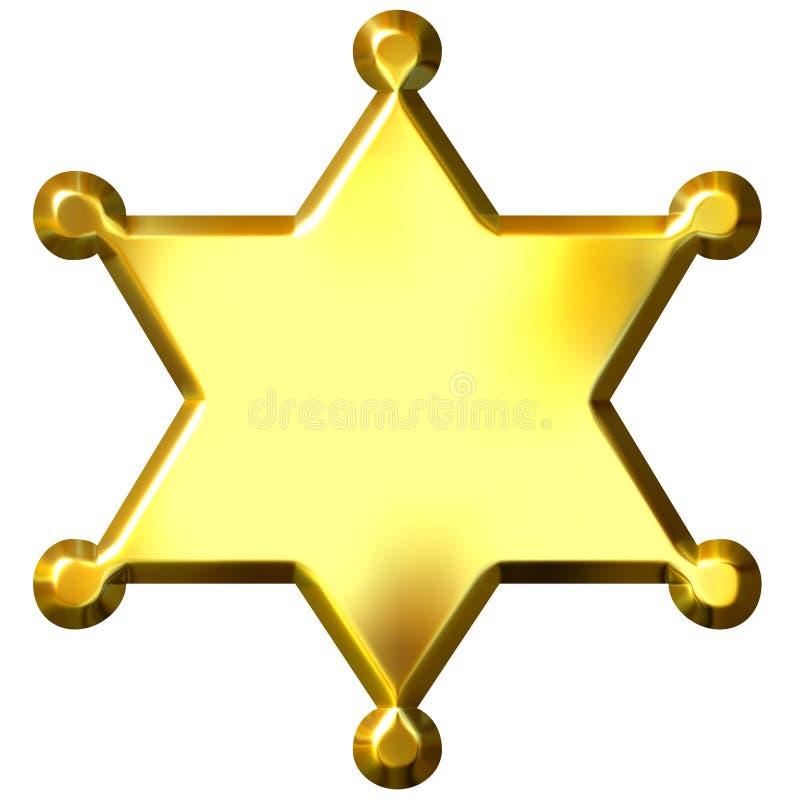 3d шериф значка золотистый s иллюстрация штока