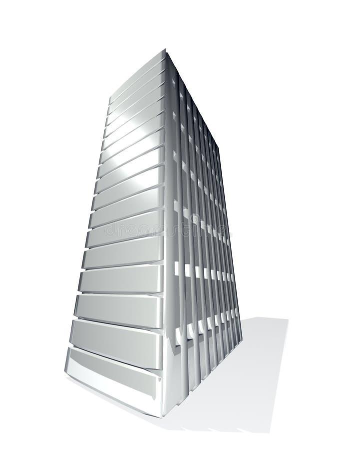 3d灰色金属服务器塔 向量例证