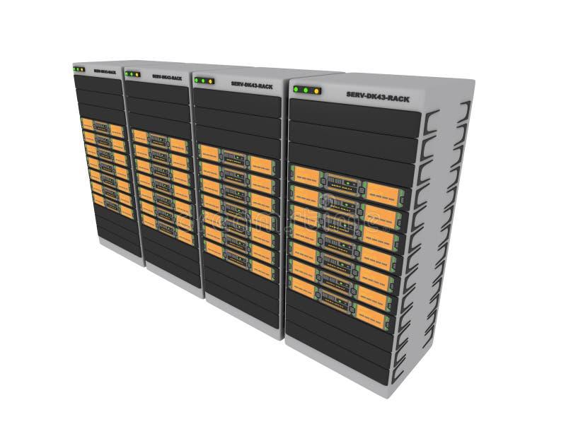 3d 4橙色服务器 库存例证