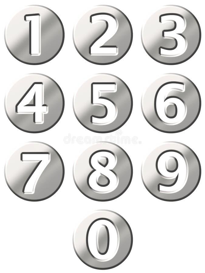 3D aço - números quadro ilustração do vetor