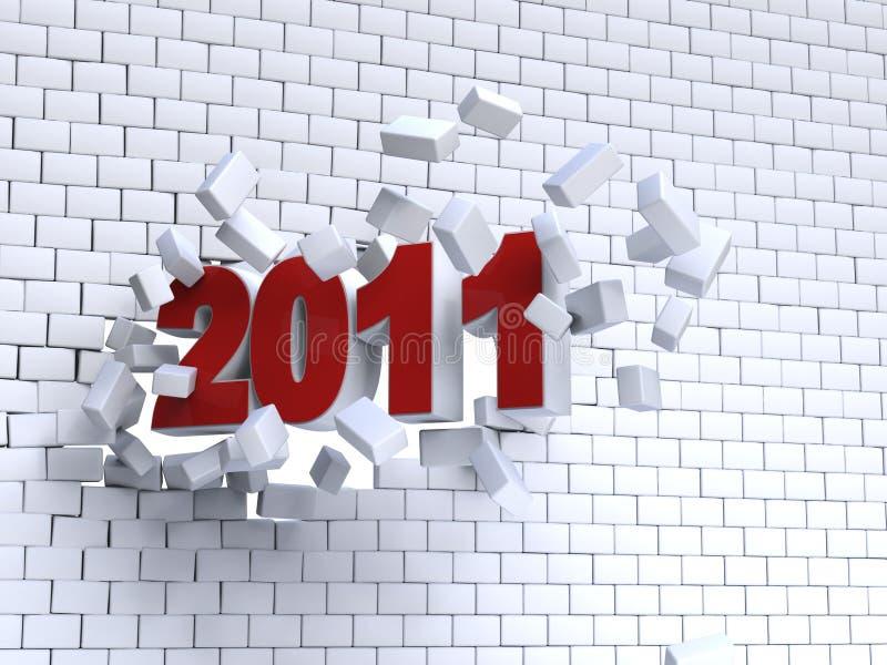 3d Año Nuevo 2011 ilustración del vector