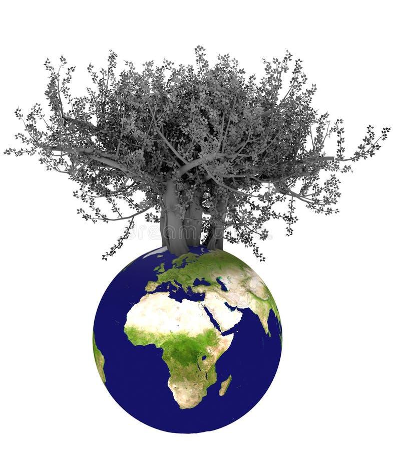 3d aarde en boom royalty-vrije illustratie