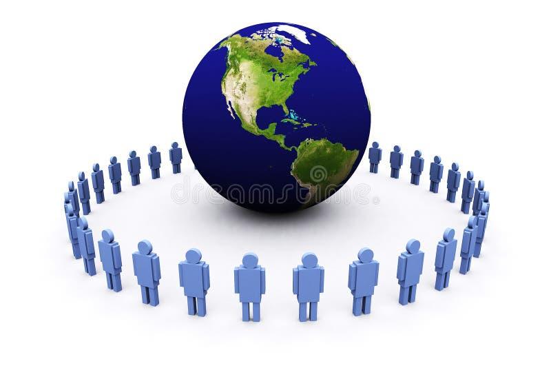 3d aarde en mensen royalty-vrije illustratie