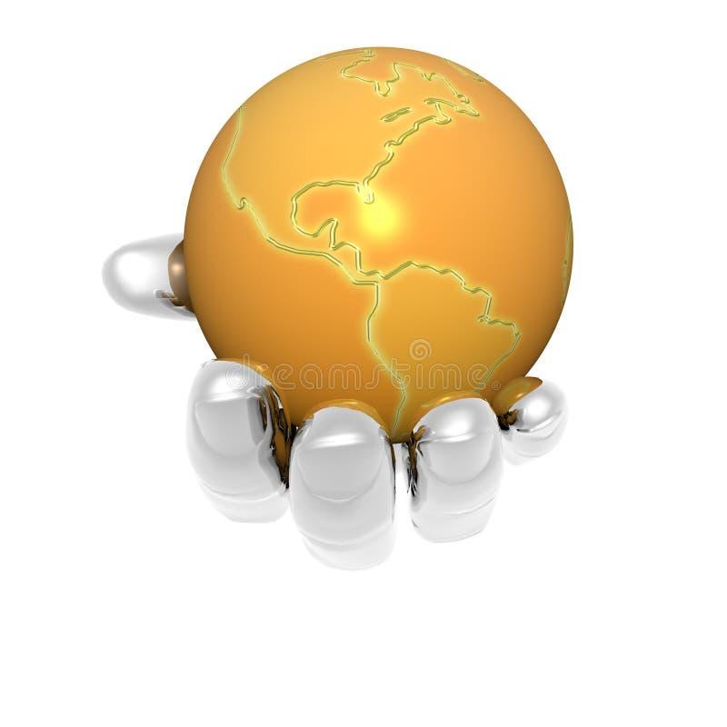 3D aarde in heldere geïsoleerden hand royalty-vrije illustratie