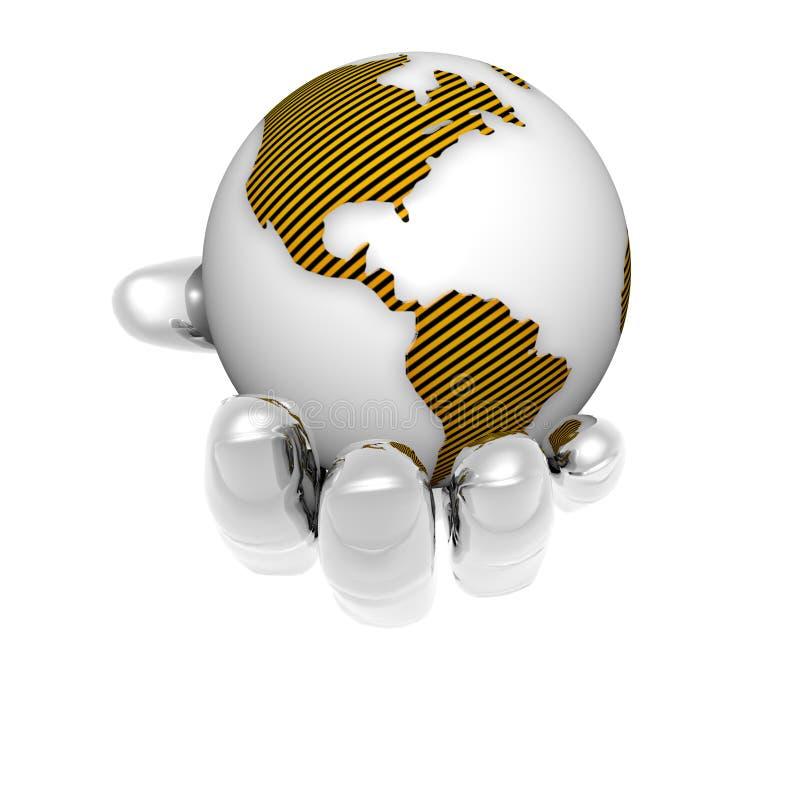 3D aarde in heldere hand die op een wit wordt geïsoleerdo vector illustratie