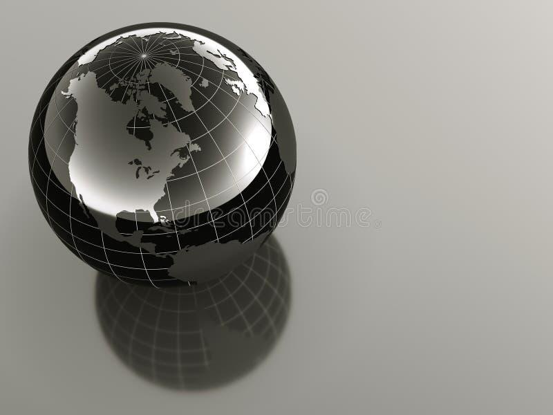 3d aarde op weerspiegelende achtergrond stock illustratie